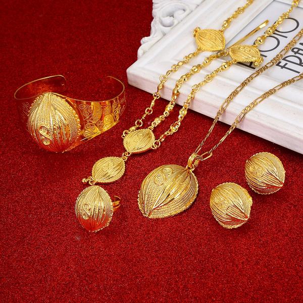 Necklace, weddingjwelryset, goldenjewelryset, Gifts