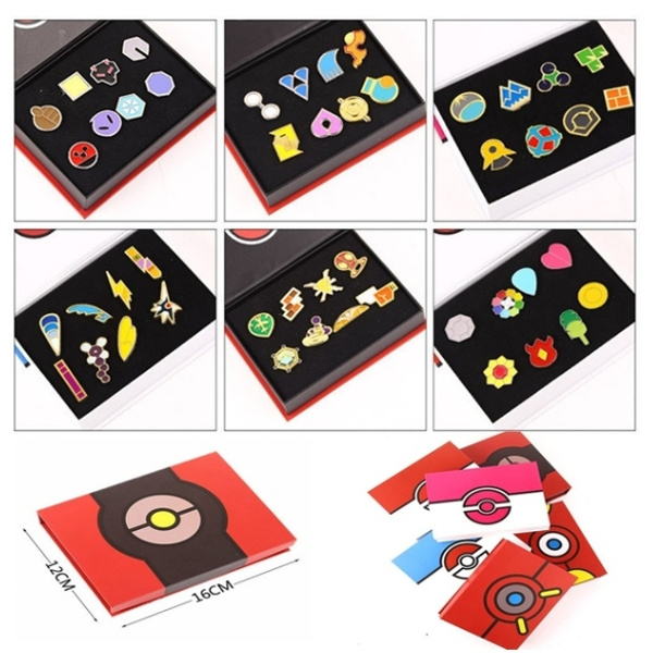 Kanto League Gym Badges Set of 8 Metal Pins Gen 1 Brooch Box Cosplay Pokemon