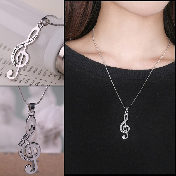 Silver Jewelry, fashiondesignnecklace, Jewelry, musicsymbolnecklace