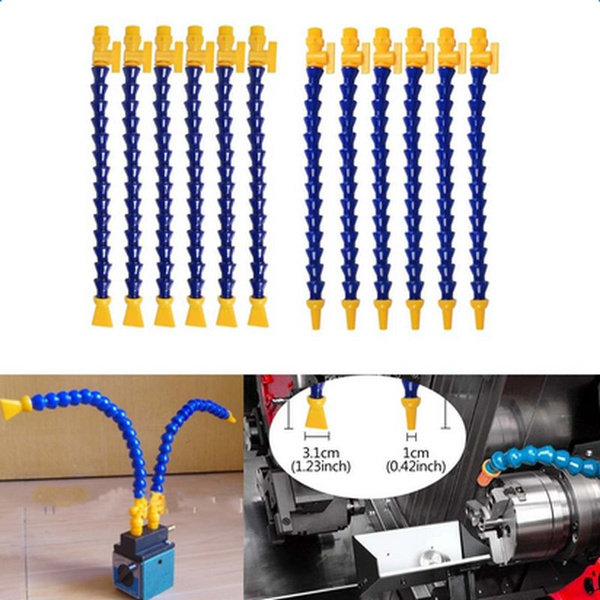ASHATA Flexible Coolant Hose,10pcs Flexible Plastic Water Oil Coolant Pipe 1//8BSPT Thread Hose for Lathe CNC,Plastic Flexible Body,Light Weight,Total 10 Pieces of Hoses,Widely Used