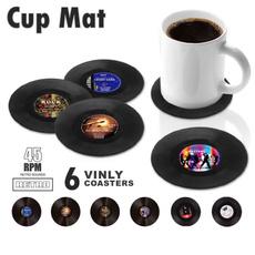 vinylrecordcoaster, Cup, Home Decor, tablewareplacemat