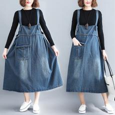 denim dress, Women Rompers, Cowboy, largesizeshirt