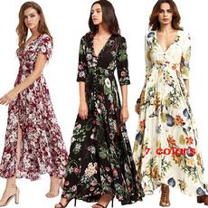 Swing dress, Fashion, vestidoslongo, Deep V-neck Dress