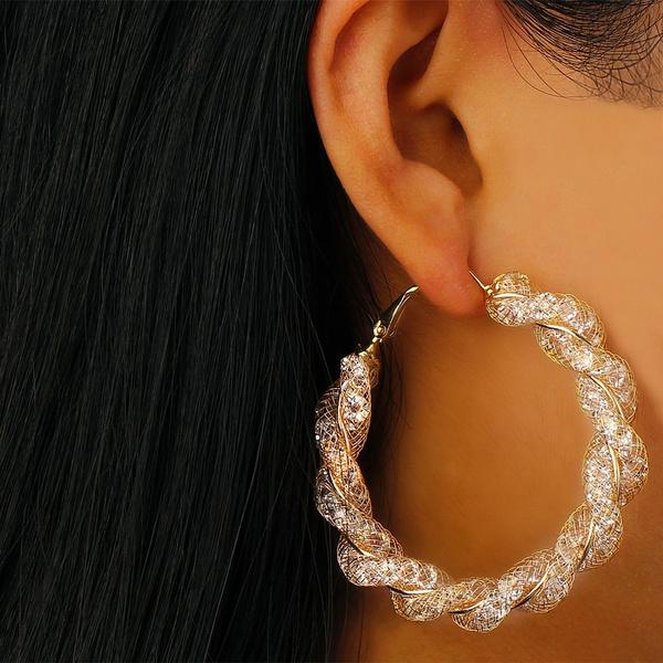 Cubic Zirconia, exaggeratedearring, Hoop Earring, Jewelry