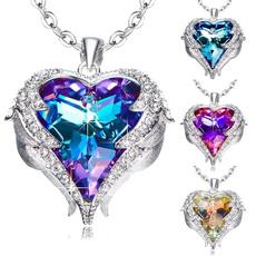 Heart, crystal pendant, Diamond Necklace, gemstonenecklace