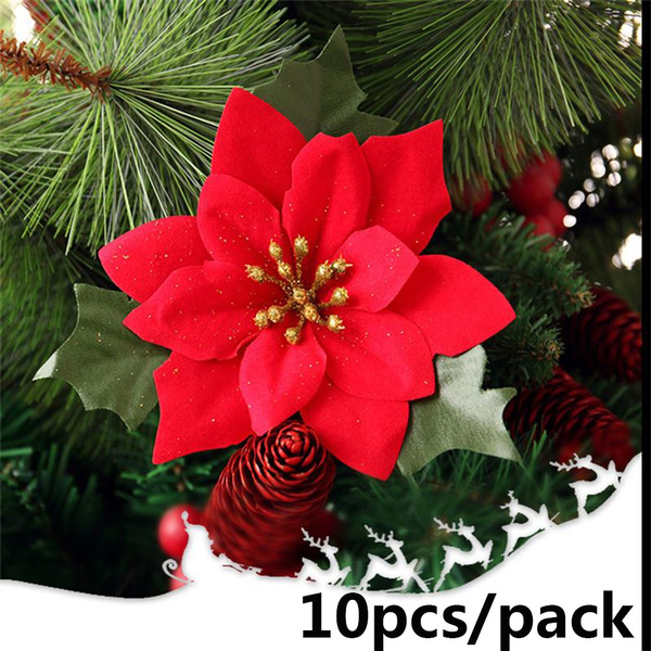 Glitter Christmas Tree Flowers Ornament Poinsettia Xmas Gifts Artificial Decors