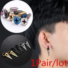 K-Pop, Mens Earrings, Hoop Earring, Stainless Steel