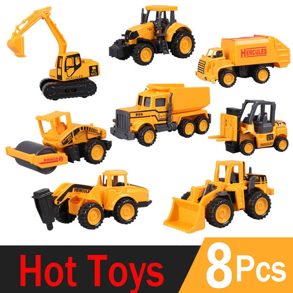 8 types Mini Alloy Construction Vehicle Engineering Car Truck Model Classic Toy