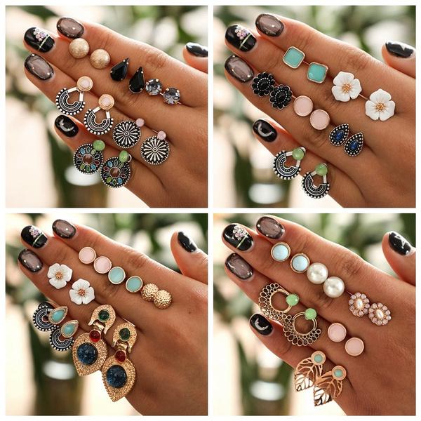 Gemstone Earrings, vintage earrings, Stud Earring, waterdropearring