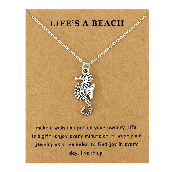 Seahorse Hippocampus Beach Ocean Pendants Necklaces Waves Starfish Sea Turtle Sand Dollar Mermaid Women Men Fashion Jewelry Gift Wish