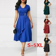 Chic, short sleeve dress, long dress, Evening Dress