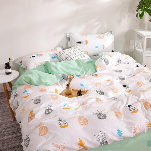 Duvet Cover Queen King Bed Linens, Pineapple Bedding Set
