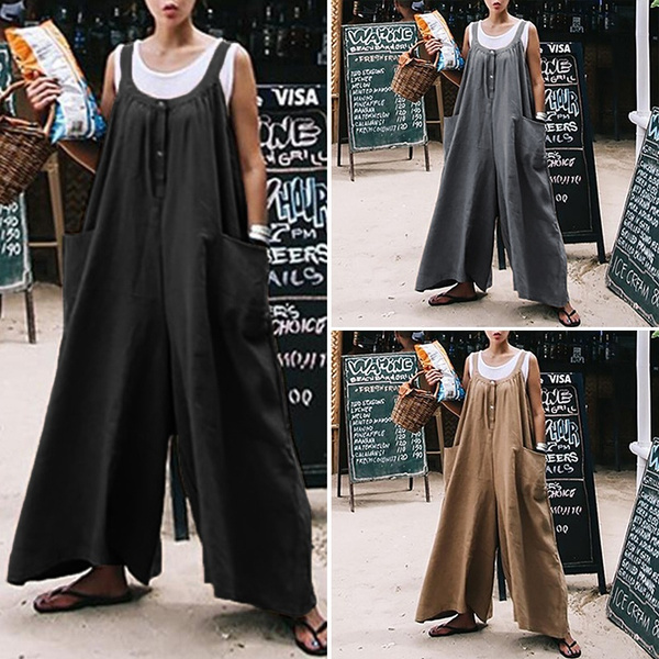Women, Plus Size, Overalls, widelegjumpsuit
