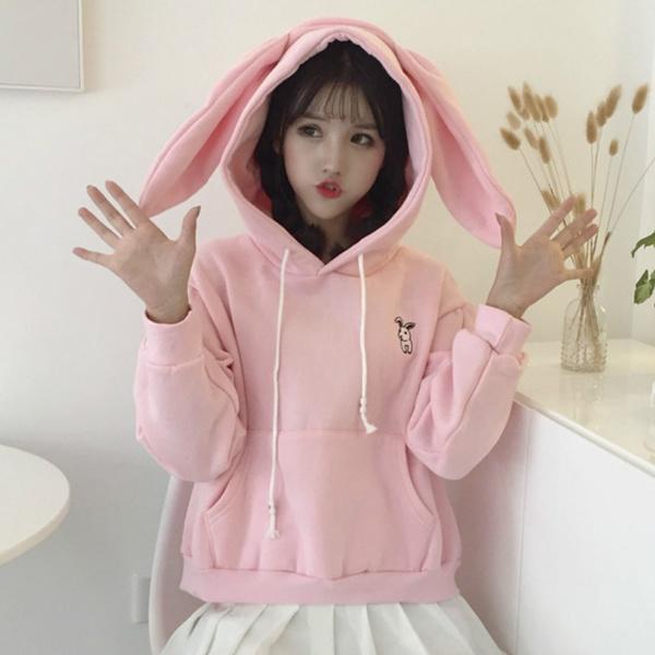 Women Girl Loose Pullover Sweatshirt Hoodies Top Velvet Japanese Bunny Ear Cute
