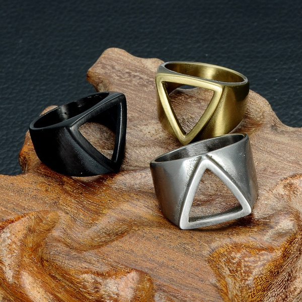 Steel, men_rings, vintage ring, Triangles