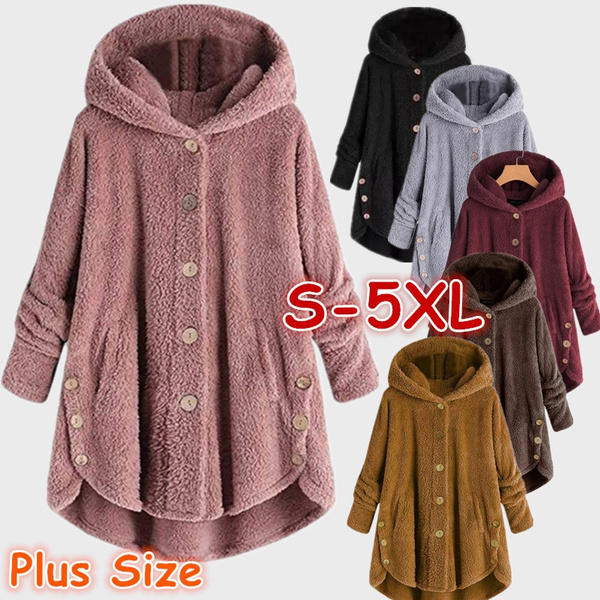 Casual Jackets, Fleece, Plus Size, fur