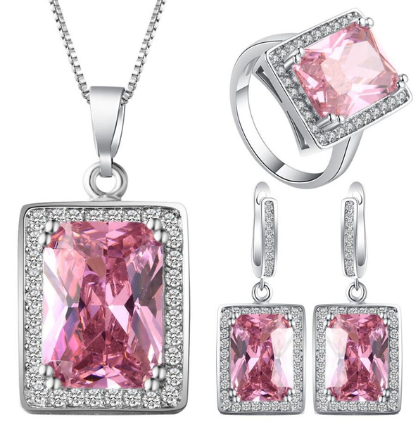 pink, gemstone jewelry, Fashion, 925 sterling silver