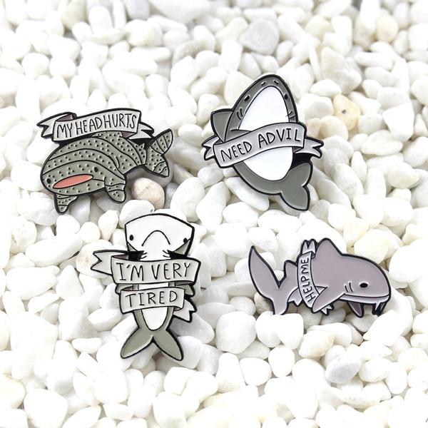 seaanimal, Shark, backpackdenimleatherbadge, Pins