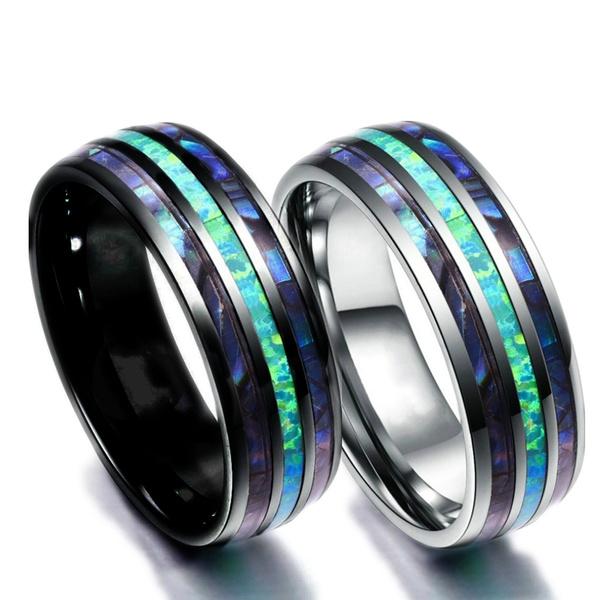 Steel, tungstenring, menweddingband, opaljewelry