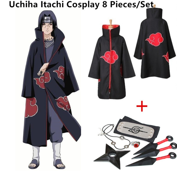 Japanese Cosplay Anime Naruto Akatsuki Itachi Uchiha Deluxe Coak 7 Piece Accessories Wish
