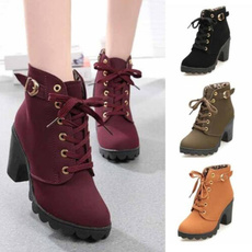 ankle boots, High Heel Shoe, Leather Boots, Lace