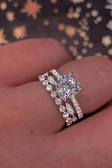 Sterling, Engagement Wedding Ring Set, 925 sterling silver, Bridal