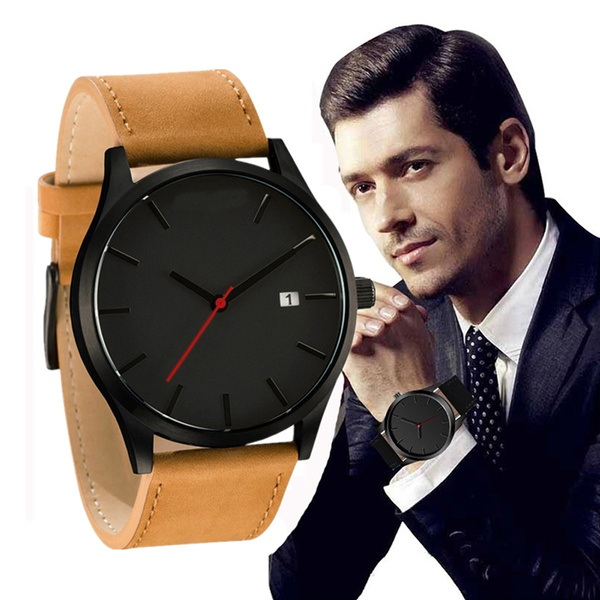 quartz, business watch, Clock, leather