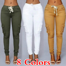 drawstringpant, slim, high waist, Casual pants
