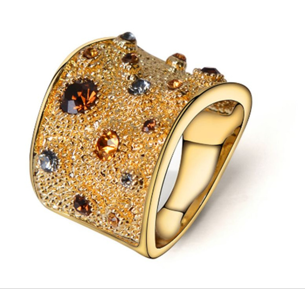 goldplated, weddingengagementring, crystal ring, wedding ring