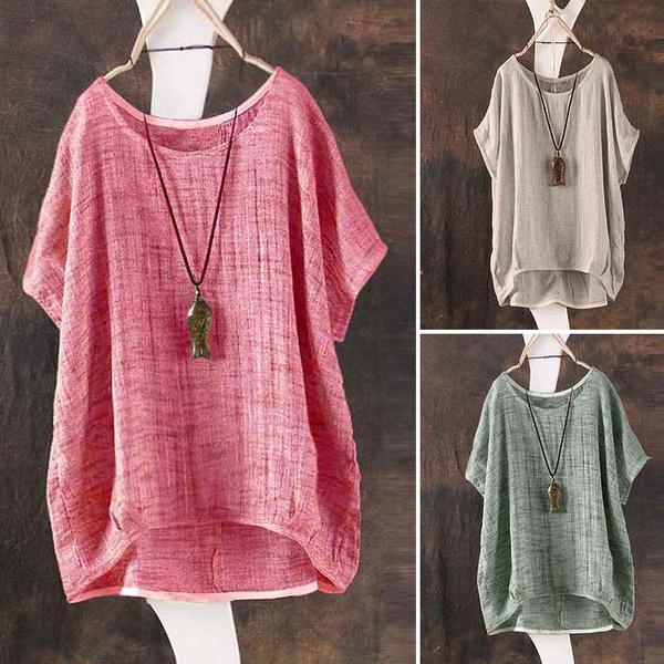 blouse, Summer, cottonlinen, Shirt