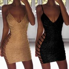 Deep V-Neck, Mini, sleeveless, Fashion