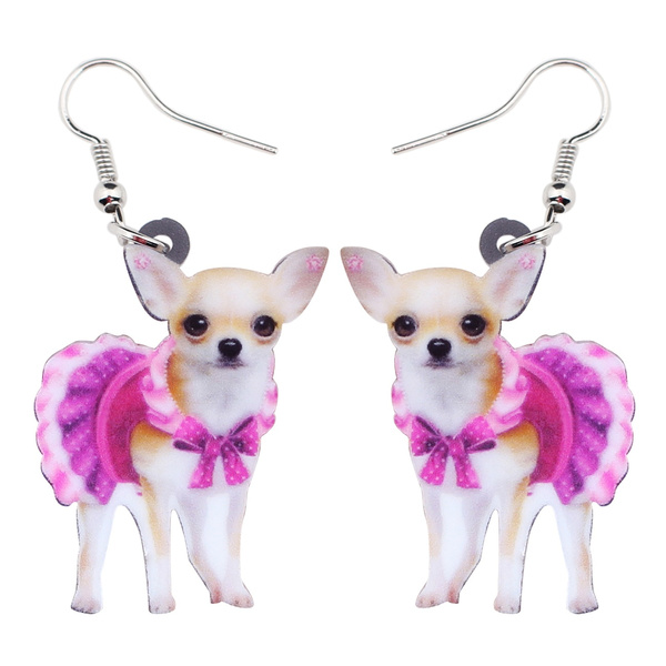 earringsforkid, pink, dogearring, chihuahuaearring