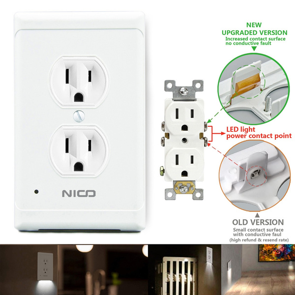 Outlet Wall Plate With Led Night Lights Induction Socket Sensor Led Plug Cover Outlet Wall Plate Coverplate Automatic Light Sensor Switch Night Light Plug Socket Sensor Night Light Duplex White Light Upgraded Version Wish