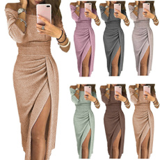 Fashion, waistslimdres, long sleeve dress, solidcolordres