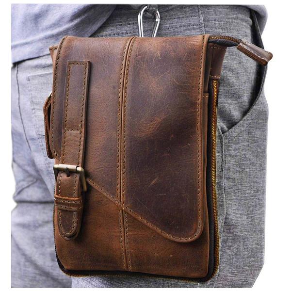 genuine leather bag., leather, Waist, Satchel