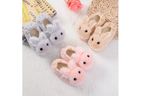 New Winter Indoor Kids Cartoon Rabbit Plush Slipper Warm Home Shoes Girls Boy