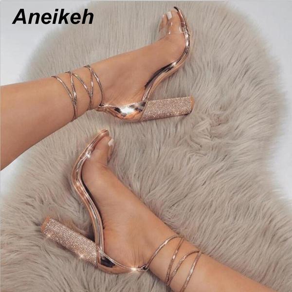 Aneikeh PVC Women Heeled Sandals