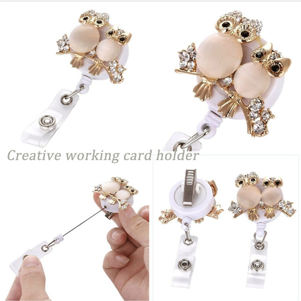 cardclip, Owl, retractable, stainlessmetal