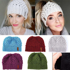 Warm Hat, ponytailhat, Fashion, beanies hat