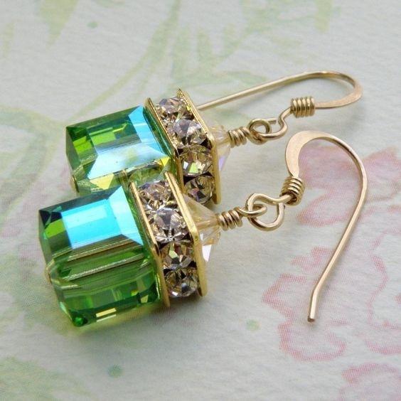 Sterling, Fashion, gold, emeraldearring