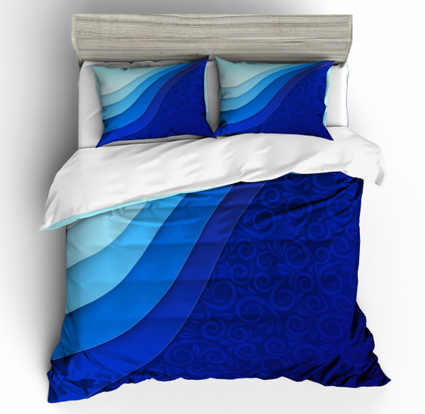 3d Geometry Printed Quilt Cover Blue, Super King Bedding Set Blue
