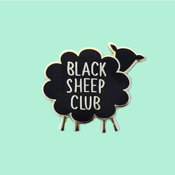 Sheep, blackaccessorie, brooches, letterprinting