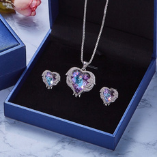Blues, Heart, crystal pendant, angelwing