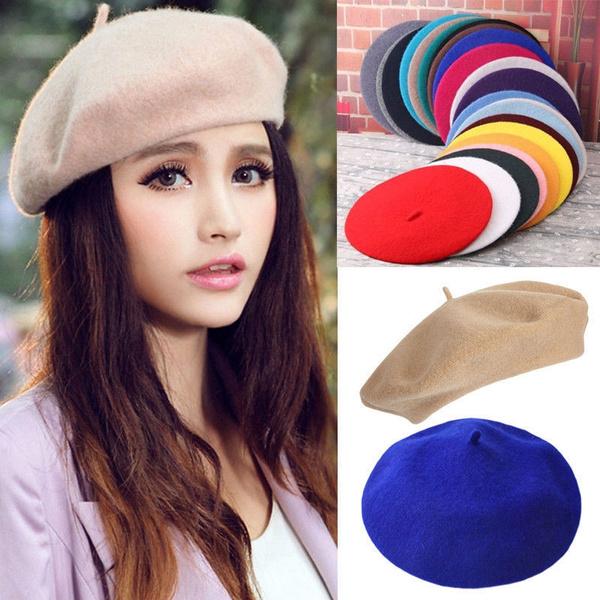 Women Beret Hat Sweet Warm Winter Wool French Artist Beanie Ski Cap Hat Fashion