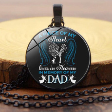 dad, Heart, Chain Necklace, cabochon