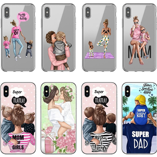 Fashion Black Brown Hair Baby Mom Girl Queen Case For iPhone X XS Max XR 8 7 6 6s Plus Silicone Woman Phone Cover | Wish