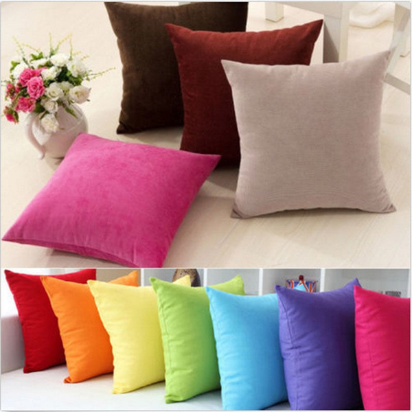 Velvet Cushion Cover Pure Color Square Home Sofa Decor Pillow Cushion Cover Case