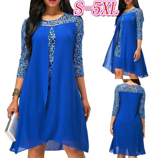 Blues, summer dress, roundneckdres, asymmetric