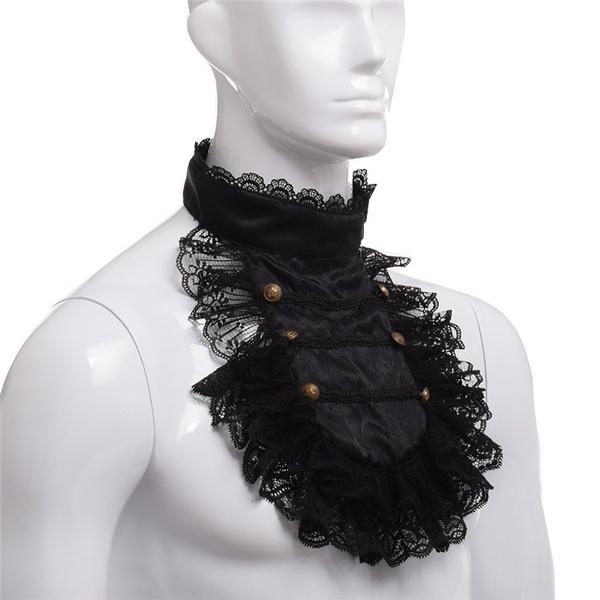 men accessories, victoriancollar, ruffle, necklacecollar