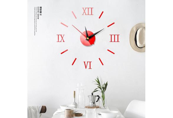 DIY Large Number Wall Clock 3D Mirror Sticker Modern Home Office Decor Art Decal